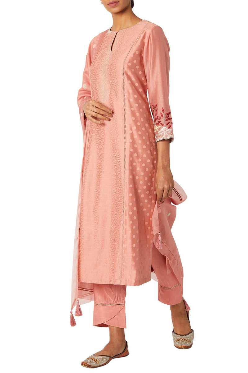 Rose Pink Chanderi Kurta Set