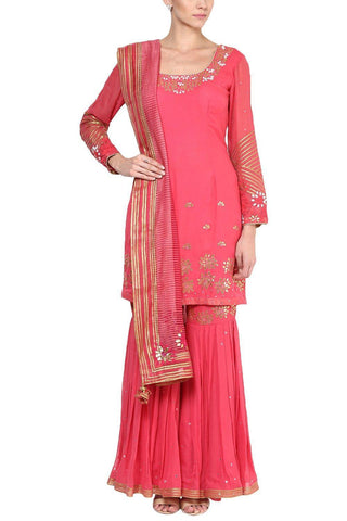 Rose Pink Gota Patti Embroidered Gharara Set - devnaagri