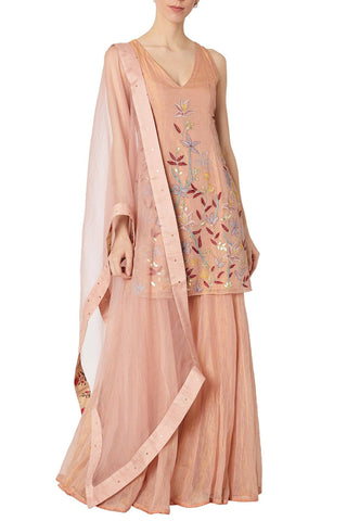 Rose Pink Kota Tissue Sharara Set