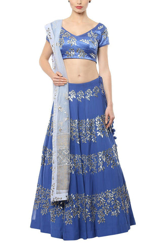 Royal Blue emboidred Lehenga with Blue Blouse - devnaagri