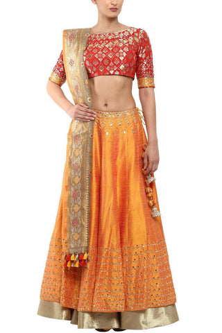 Saffron Flared Lehenga In Raw Silk with Red Blouse - devnaagri
