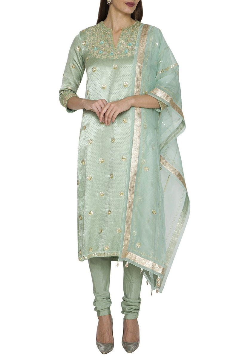 Sage Green Kurta And Churidar With Pink Dupatta