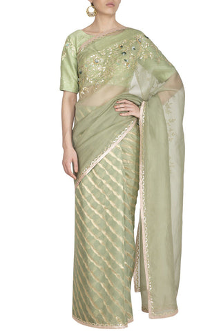 Sage Green Leheriya Saree with Raw Silk Blouse - devnaagri