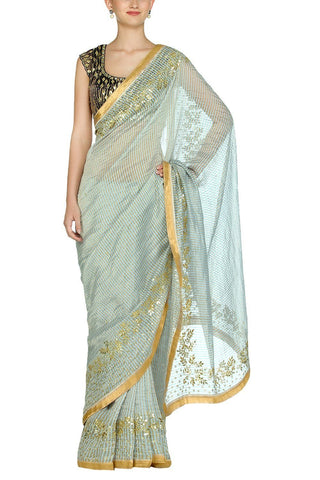 Sage Green Saree with Chanderi Blouse - devnaagri