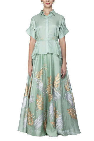 Sage Green Top with Skirt - devnaagri