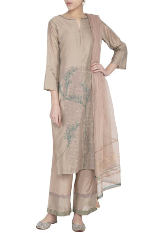 Sand Chanderi Kurta with Block Printed Pallazo - devnaagri