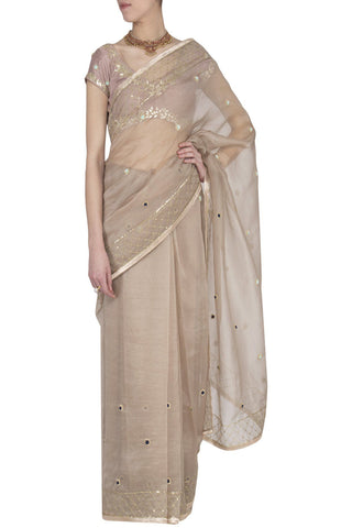 Sand Organza Saree with Raw Silk Blouse - devnaagri