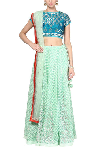 Sea Green and Champagne Gota Patti Embroidered Lehenga Set - devnaagri