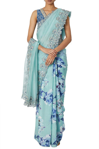 Sea Green Half And Half Digital Print Saree
