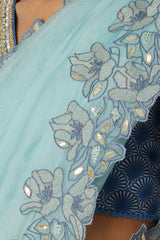 Sea Green Half & Half Digital Print Saree