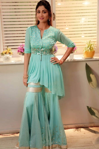 Shilpa Shetty Kundra In Aqua Sharara and Kurta