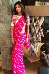 Shilpa Shetty Kundra In Pink Leheriya Saree with Hand Painted Blouse