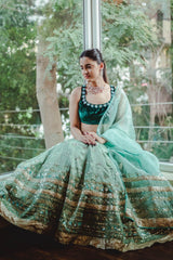 Shivani Raina In Green Lehenga with Burgundy Blouse and Peach Dupatta