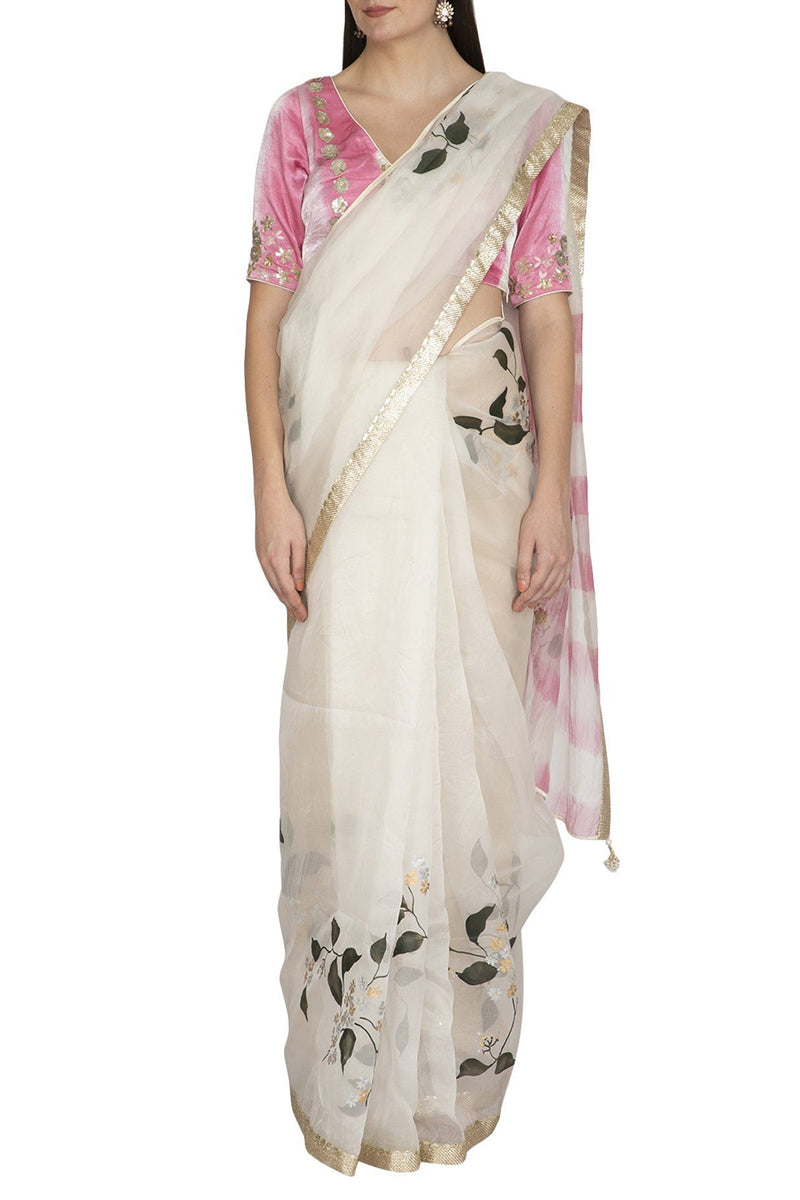 Ivory Pink Hand Painted Saree with Tie & Dye Blouse - devnaagri