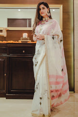 Shivani Raina In Ivory Pink Hand Painted Saree with Tie & Dye Blouse