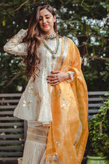 Shivani Raina InIvory Kurta And Sharara With Saffron Dupatta