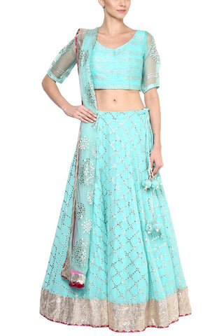 Sky Blue and Champagne Gota Patti Embroidered Lehenga Set - devnaagri