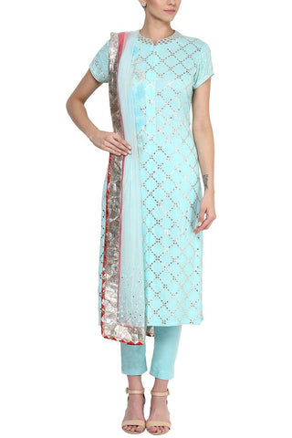 Sky Blue Checkered Gota Patti Work Kurta and Pants Set - devnaagri