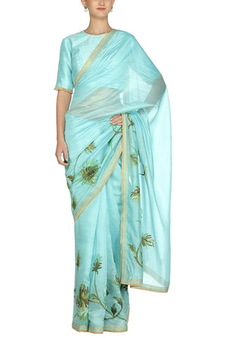 Sky Blue Hand Painted Saree with Raw Silk Blouse - devnaagri