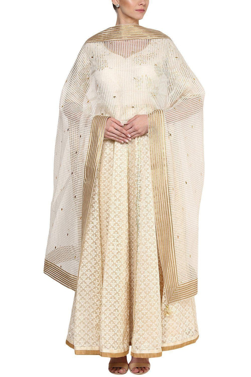 Ivory Sequins and Gotta Patti Embroidered Anarkali Set - devnaagri