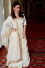 Soha Ali Khan In Ivory Sequins and Gotta Patti Embroidered Anarkali Set