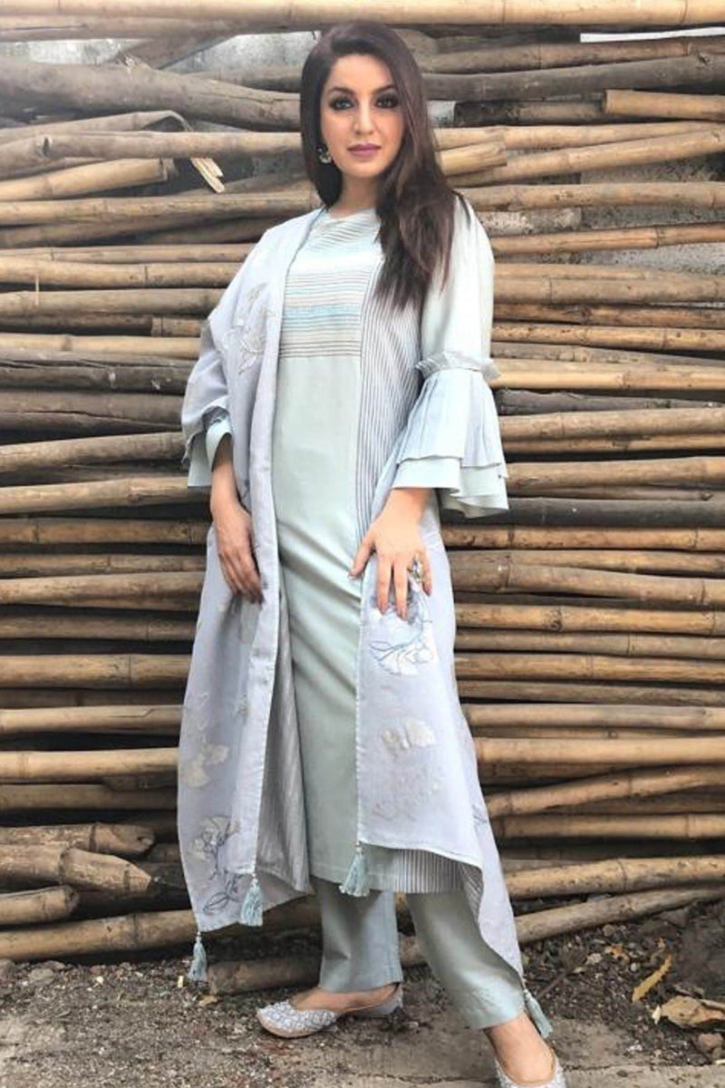 Tisca Chopra In Grey Blue Suit with Pallazo Pants Set