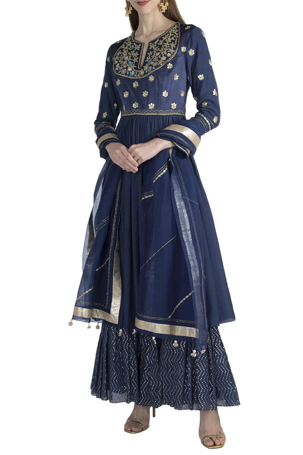Twlight Blue Anarkali With Sharara And Duptta