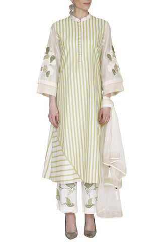 White/green Chanderi Kurta with Pallazo Pants - devnaagri