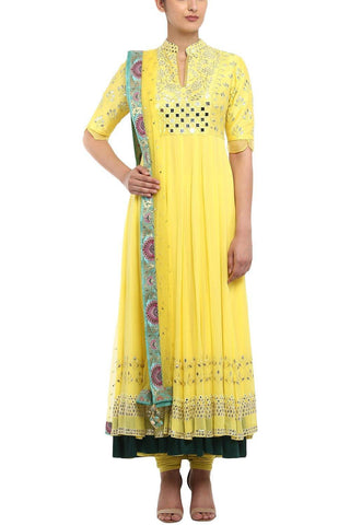 Yellow Anarkali with Mukaish Net Set - devnaagri