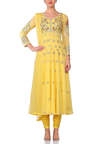 Yellow Anarkali with Net Dupatta - devnaagri