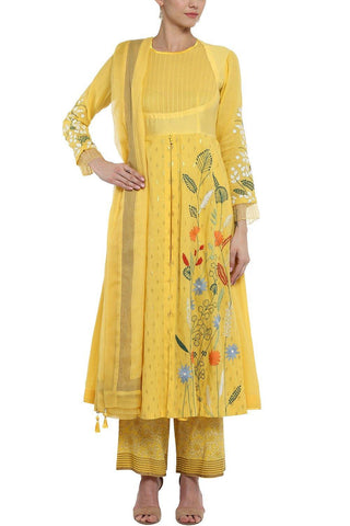 Yellow Anarkali with Pallazo Pants - devnaagri