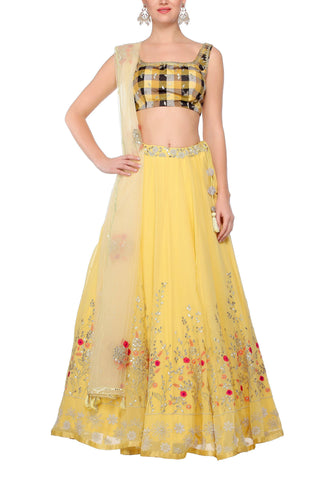 Yellow Georgette Lehenga with a Yellow Net Dupatta - devnaagri