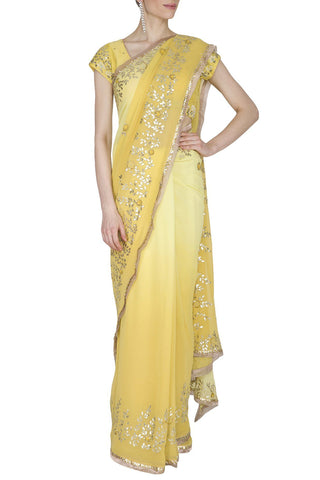 Yellow Georgette Saree with Mukaish Chanderi Blouse - devnaagri