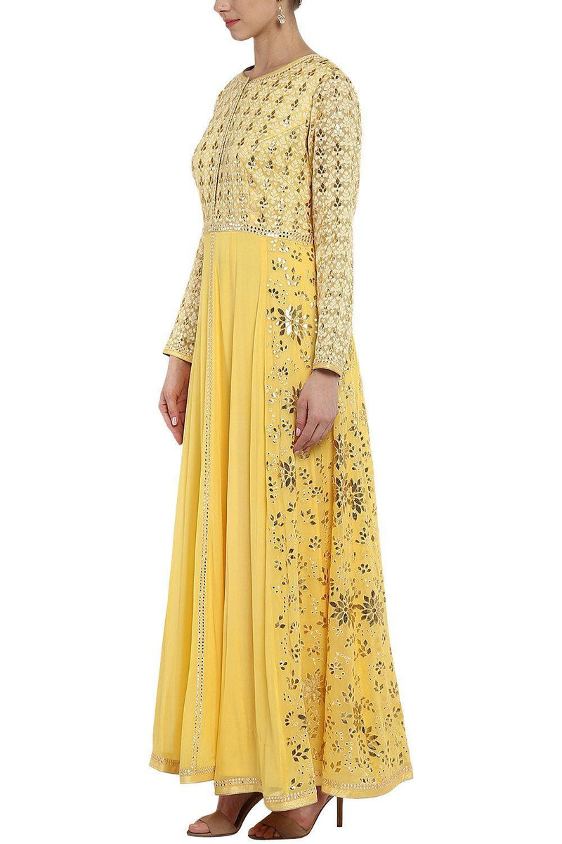 Yellow Gota Patti and Patra Work Anarkali Set - devnaagri