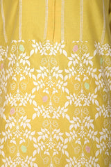 Yellow Hand Block Printed Straight Kurta with Pallazo - devnaagri