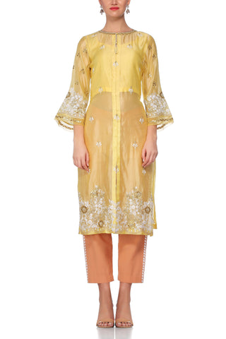 Yellow Kurta with Beige Cotton Pant Set - devnaagri
