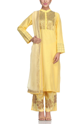 Yellow Kurta with Metal Embroidery Set - devnaagri
