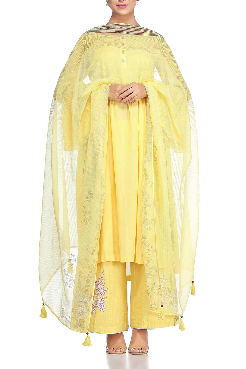 Yellow Kurta with Pallazo Pants Set - devnaagri