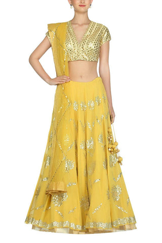 Yellow Lehenga with Golden Blouse - devnaagri