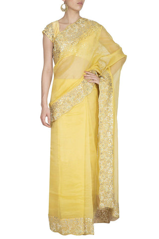 Yellow Saree with Raw Silk Blouse - devnaagri