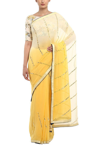 Yellow Shaded Georgette Saree Embroidered With Gota Patti - devnaagri