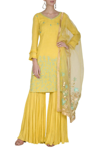 Yellow Sharara with Kurta - devnaagri