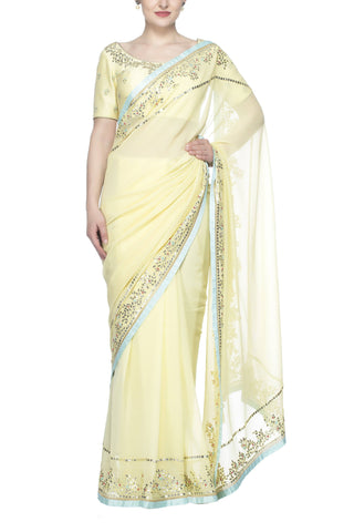 Yellow Shimmer Saree - devnaagri