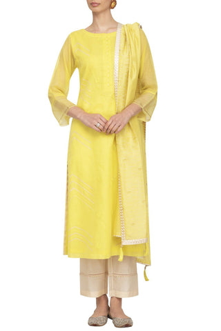 Yellow Straight Kurta with Slim Pants - devnaagri