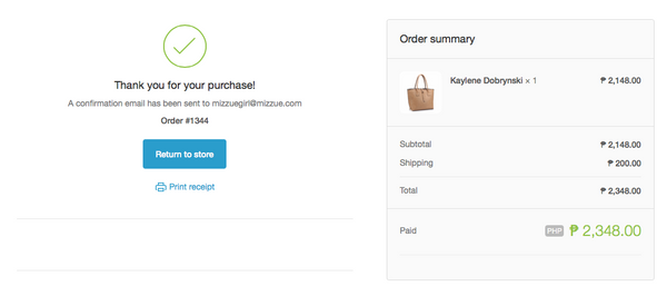 mizzue Philippines handbag shopping order confirmation page screen capture