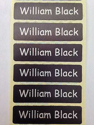 Classic Iron-On Name Tapes Silver Print on Black