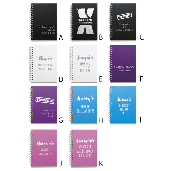 Personalised Wire Bound Note Books - Style J