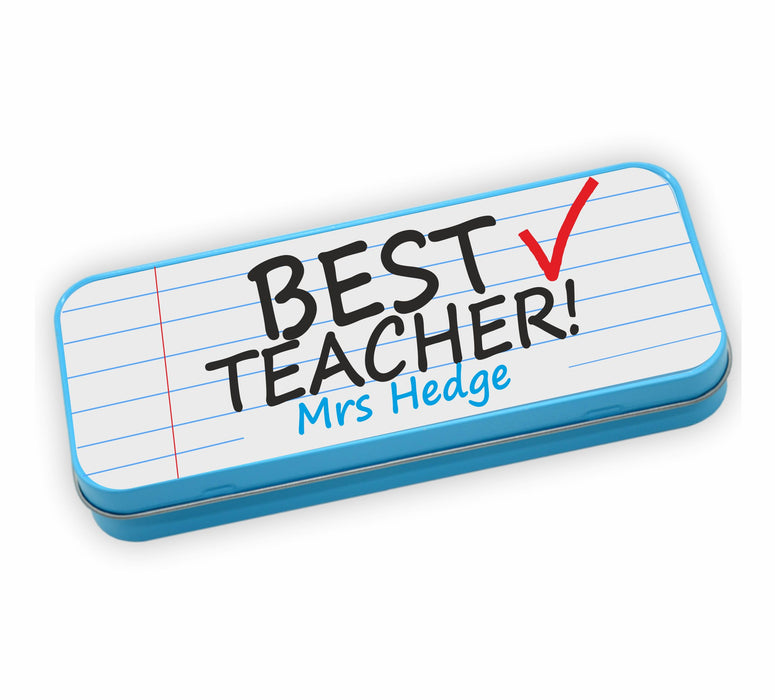 Personalised Tin Set - Best Teacher Blue