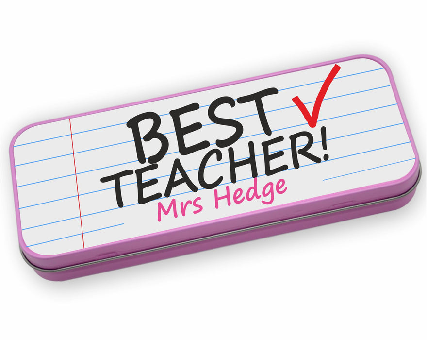 Personalised Tin Set - Best Teacher Pink