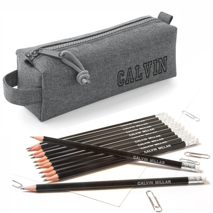 Grey Block Style Case with 12 HB Pencils with Erasers